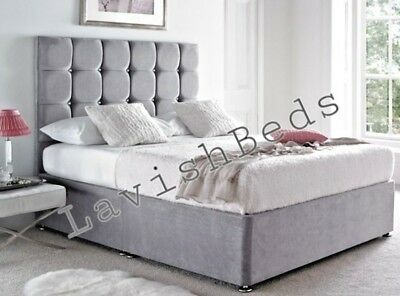 Lavish Divan Bed Base In Faux Suede 3ft/4ft/4ft6/5ft/6ft +headboard And Storage • 289.99£