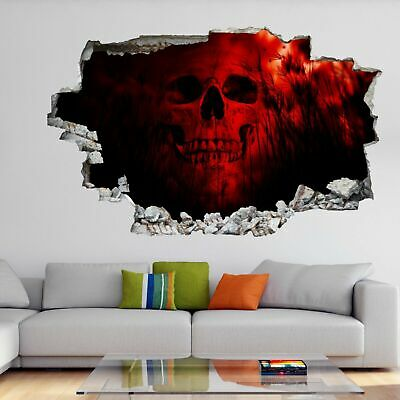 Human Skull 3D Wall Art Sticker Mural Decal Poster Horror Background GH12 • 22.99£