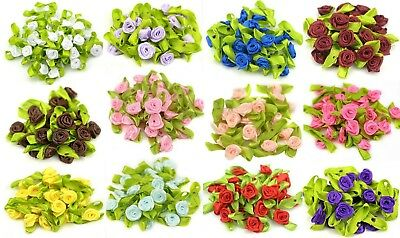 Mini Satin Ribbon Rose Buds Flowers With Green Leaves Craft Wedding Confetti • 2.99£