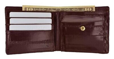 $19.99 • Buy Mens Genuine Eel Skin Leather Bifold Credit Card Wallet With Coin Pouch Burgundy