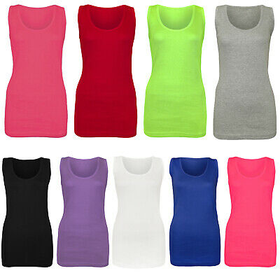 £4.99 • Buy Ladies Vest Women Cotton Stretchy Ribbed T-shirt Cami Casual Muscle Gym Tank Top