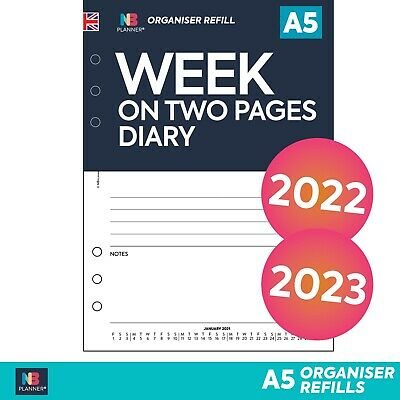 2021 FILOFAX A5 / PERSONAL Compatible WEEK On TWO PAGES LINED DIARY Refill   • 7.98£