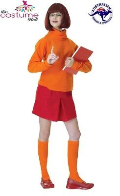 Ladies VELMA Scooby Doo Adult Fancy Dress Costume Size 8 - 12 AU • 27.09£