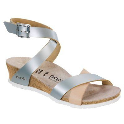 CLEARANCE Papillio By Birkenstock LOLA Leather Frosted Metallic Silver BNIB • 67.94£