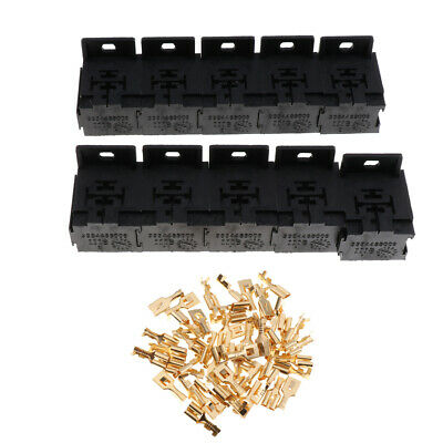 $ CDN16.16 • Buy 10 Pieces Automotive 5-Pin Relay Socket Holders With 6.3mm Copper Terminals