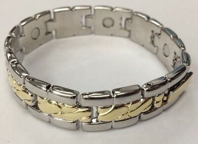 Magnetic Bracelet Silver Gold Bangle 2 Tone Magnet Healing Therapy LADIES • 6.95£