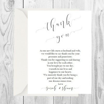 £3.30 • Buy Personalised Wedding Thank You Cards Including Envelopes 15