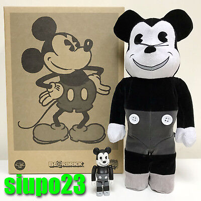 $179.99 • Buy Medicom 400% + 100% Bearbrick ~ Mickey Mouse Be@rbrick Vintage Black & White Ver