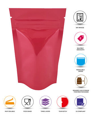 Pink Shiny Stand Up Pouches Heat Seal Foil Zip Lock Bag Grade Myler Bag • 5.99£