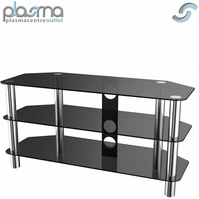 Black Glass Corner 3 Three Shelf Tier TV Stand Unit Cabinet For Upto 50 Inch TVs • 69.99£
