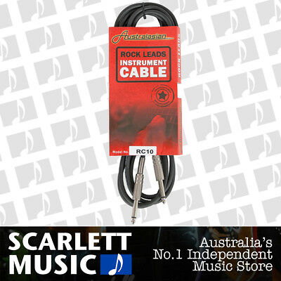 AU15.45 • Buy AUSTRALASIAN 10 Foot Guitar Lead / Instrument Cable Black - W/12 Months Warranty