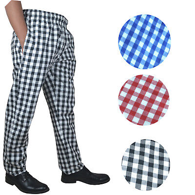 Chef Trousers 100% Cotton Catering Pants Catering  Kitchen Trousers LARGE CHECK • 10.99£