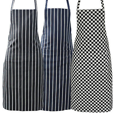 £3.99 • Buy Striped Chef Aprons 100% Cotton Butcher Cooking Kitchen Catering BBQ Bib Pockets
