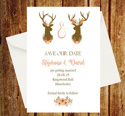 AU37 • Buy Brand New Personalised Save The Date Cards Rustic With Envelopes SD55