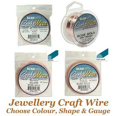 £4.75 • Buy Beadsmith Jewellery Craft Wire Choose Non Tarnish Silver, Gold, Rose, Copper Etc