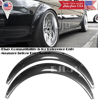 $57.92 • Buy 2 Pcs 2.75  Wide ABS Black Carbon Effect Fender Flares Extension For Mitsubishi