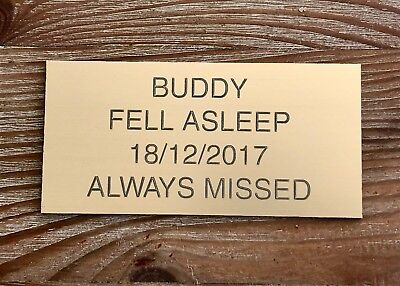 £3.95 • Buy Pet Memorial Personalised Brass Plaque Engraved Dog Cat Grave Small 7.5 X 3.5cm