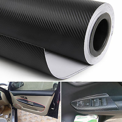$3.55 • Buy 3D Car Interior Accessories Interior Panel Black Carbon Fiber Vinyl Wrap Sticker