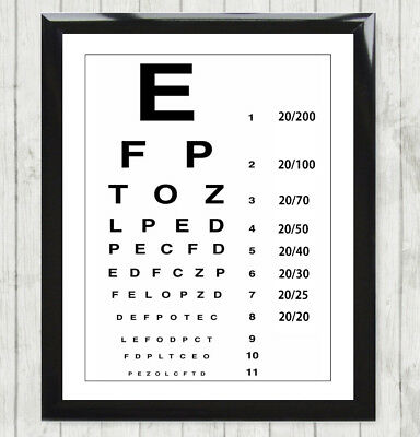 Eye Test Chart UK England Optician Glasses Print Picture Poster Framed 138 • 6.99£