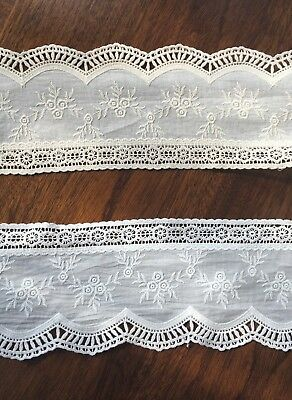 Cotton Embroidered Lace Fabric Trim 1 Yard Width 10.5 Cm • 5.99£