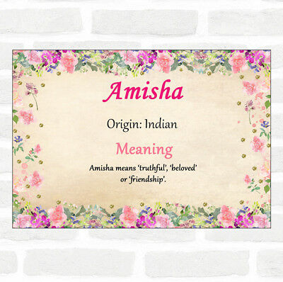 $ CDN11.92 • Buy Amisha Name Meaning Floral Certificate