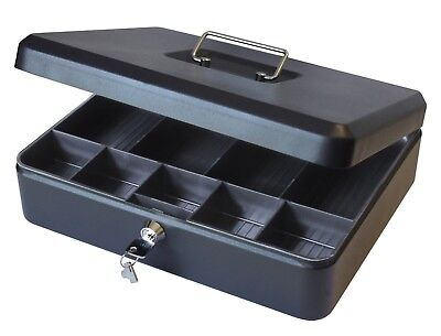 Cathedral 12 Inch Large Petty Cash Box Lockable Security Money Safe Tin Black • 13.99£