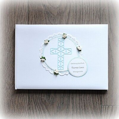 £13.99 • Buy PERSONALISED BABY BOY CHRISTENING/ BAPTISM GUEST BOOK Handmade Boxed