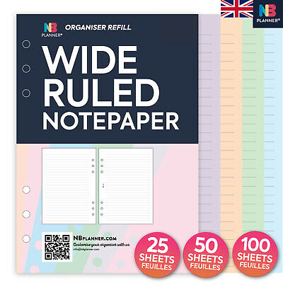 FILOFAX A5 / Personal Compatible WIDE RULED Notepaper Organiser Refill Insert • 8.98£