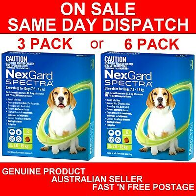 AU99.89 • Buy NexGard Spectra Chewables For Medium Dogs Green 7.6-15kg 3 Pack Or 6 Pack