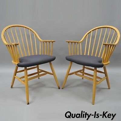 $175 • Buy Spindle Back Windsor Style Wooden Dining Kitchen Chairs By Loewenstein A Pair