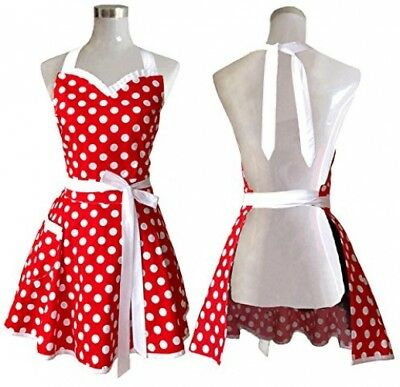 Red Polka Dot Apron For Women Chef Cooking Kitchen Cute Ladies Vintage 50s Retro • 15.40£