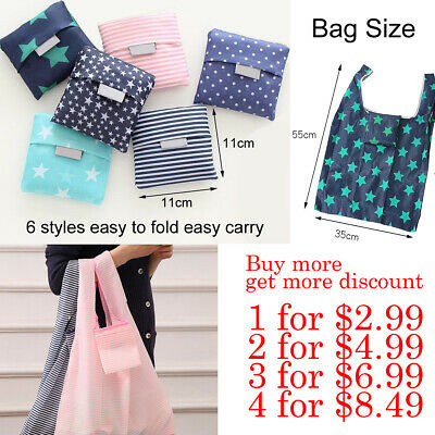 AU2.99 • Buy Nylon Reusable Foldable Recycle Grocery Shopping Carry Bags Tote Handbags Eco