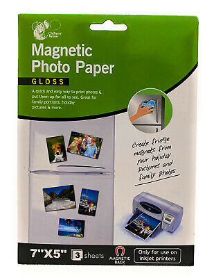 """£2.99 • Buy Magnetic Photo Paper Gloss Use Inkjet Printer Great Family Photo 7""""x5"""" 3 Sheets"""