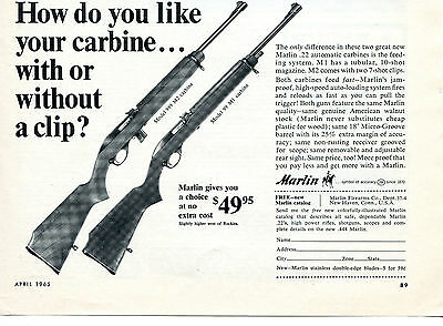 $9.99 • Buy 1965 Print Ad Of Marlin 989 M2 Carbine & 99 M1 Carbine With Or Without A Clip?