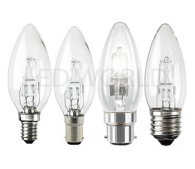 2 4 10 20 Halogen Candle BC SBC ES E27 SES 18W 28W 42W Energy Saving Light Bulbs • 5.99£