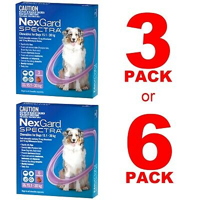 AU110.95 • Buy NexGuard Spectra Purple For Dogs 15.1-30kg 3 Pack Or 6 Pack