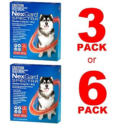 AU116.89 • Buy NexGuard Spectra Red For Dogs 30.1-60kg 3 Pack Or 6 Pack