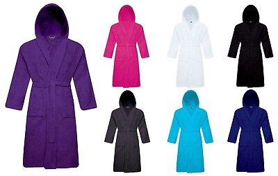 Unisex 100% Cotton Terry Toweling Hooded Bath Robe Dressing Gown Soft & Cozy • 14.95£