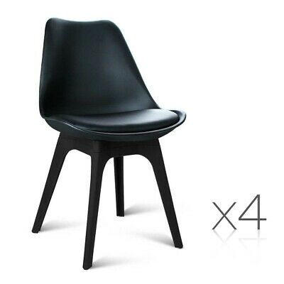 AU223.95 • Buy Set Of 4 DSW PU Leather Chairs Cafe Dining Thick Padded Retro Style Seat Black