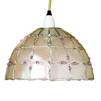 Capiz Shell With Lilac Beads In Silver Frame 10''(25cm) Handmade Lampshade • 16.95£