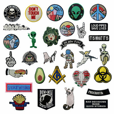 $ CDN4.06 • Buy Embroidered Patches Iron Sew On Patches Transfers Badges Appliques Lots Pattern