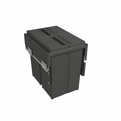Built In Double Pull Out Kitchen Recycling Waste Bin 58 Litres For 400mm Unit • 170.99£