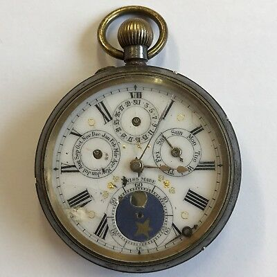 £295 • Buy Antique Calendar Moon Phase Type Pocket Watch Top Winder 5cm Not Working A/F