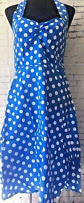 Women's Blue And White Polka Dot, Halter Neck Dress Sizes 10-18 • 9.99£