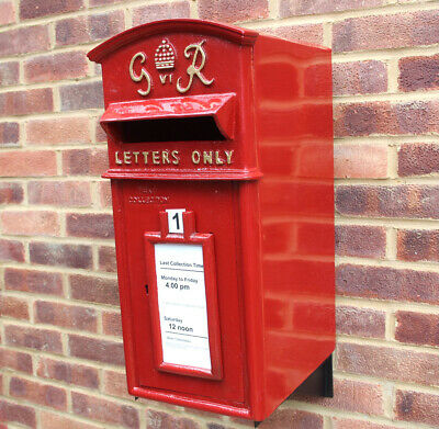 $264.17 • Buy Royal Mail Cast Iron Pillar Red GR Post Box Option On Stand/Wall Mount ER VR