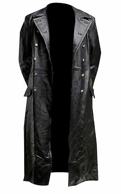 Mens German Classic Ww2 Officer Military Uniform Black Leather Trench Coat • 69.99£