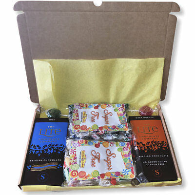 Sugar Free Diabetic Sweet Chocolate Gift Hamper Mail Box Personalised Label • 9.10£