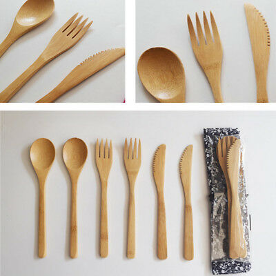 £3.56 • Buy Bamboo Wooden Cutlery Set Spoon Fork Cutter Cutting Reusable  Kitchen Tool