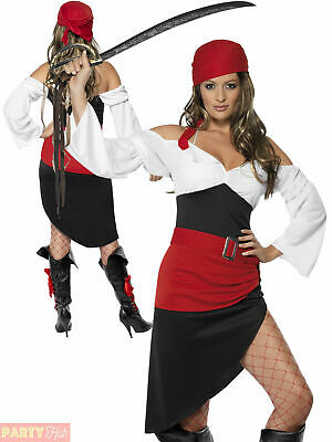 Ladies Sassy Pirate Wench Costume Adults Buccaneer Fancy Dress Womens Outfit • 20.95£