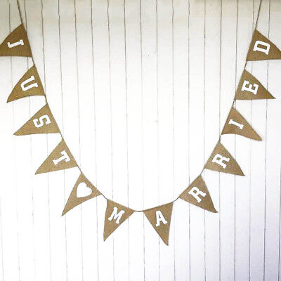 3.5M Hessian JUST MARRIED Bunting Burlap Rustic Shabby Wedding Banner 12 Flags • 4.99£